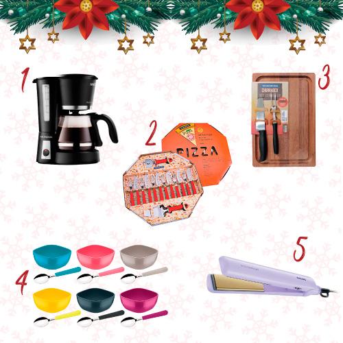 1 - Cafeteira Mondial Bella Arome | 2 - Kit para Pizza Tramontina | 3 - Jogo de Churrasco 3 Peças Tramontina | 4 - Conjunto Sobremesa Mix Color Tramontina 12 Peças | 5 - Chapinha Philips Simply Salon Straight.