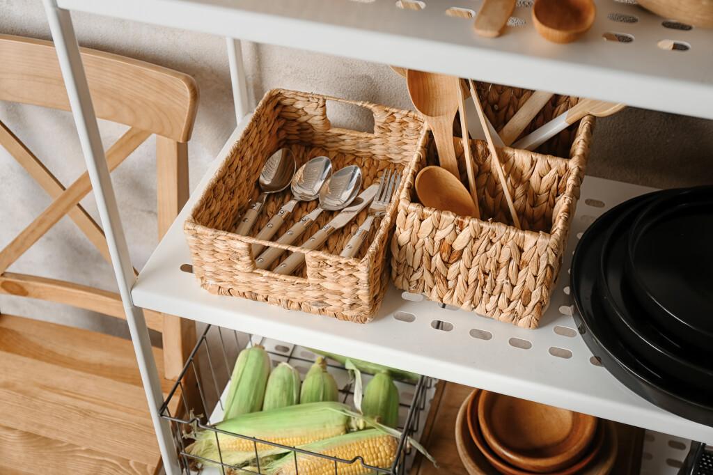 Utensils,In,Baskets,On,Storage,Stand,Indoors